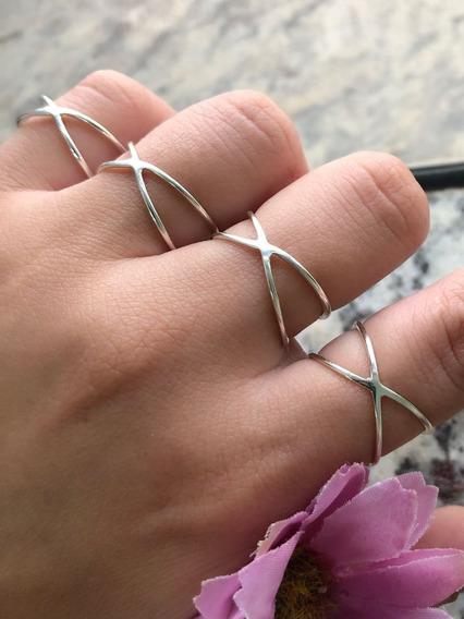Anel Feminino Prata 925 Cruzado Em X Geométrico Tendencia