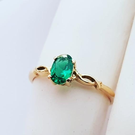 Anel De Formatura 100% Em Ouro 18k Pedra Verde Mais Barato