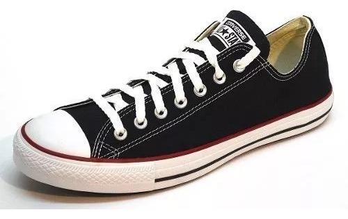 Zapatillas Converse All Star Lona Negra Con Linea Roja 30cm