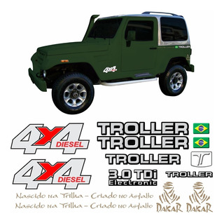 Kit Adesivos Emblema Troller T4 4x4 Diesel 3.0 Tdi 2007 Completo Carro Verde Tlr062