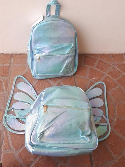 Mochila Holográfica De Mariposa