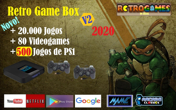 Novo Retro Game Box 2020 64gb +20.000 Jogos E 2 Controles