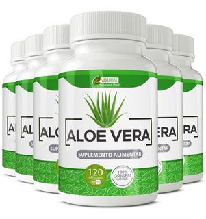 6 Potes Aloe Vera 500mg Com 120 Cápsulas Cada Vida Ervas