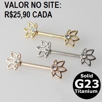 Piercing Mamilo Lotus Titânio 1.6mm