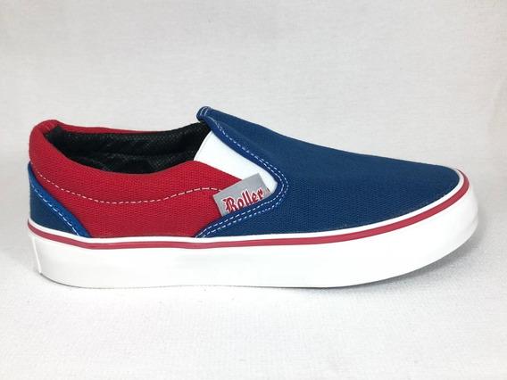 Panchas Lona Con Elástico Rojo/azul 35 Al 40