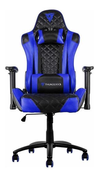 Cadeira de escritório Thunderx3 TGC12 ergonômica black e blue con estofado do couro sintético