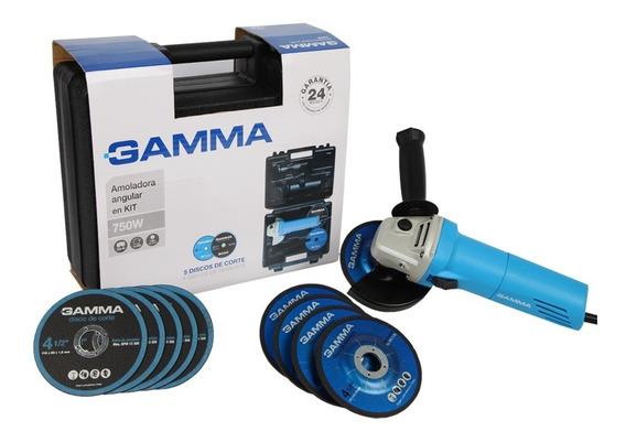 Amoladora Angular 750 W Gamma 115mm Kit Maletin G1910kar