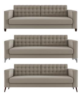 Sofa Gomu Pe Madeira Quadrado Palito Aluminio 3 Lug 220cm