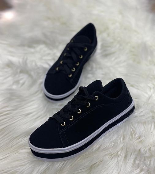 Sapato Tênis Camurça Confortável Moda Feminina Detalhes
