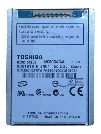 Hard Disk 80 Gb Zif 1.8 Toshiba Mk8034 Gal.