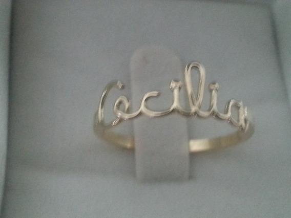 Anel Nome Personalizado Em Ouro18k Cecilia