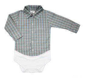 Body Camisa Xadrez Manga Longa Bebê Inverno Várias Cores