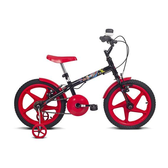 Bicicleta Infantil Aro 16 Rock Preto E Vermelha Verden Bikes