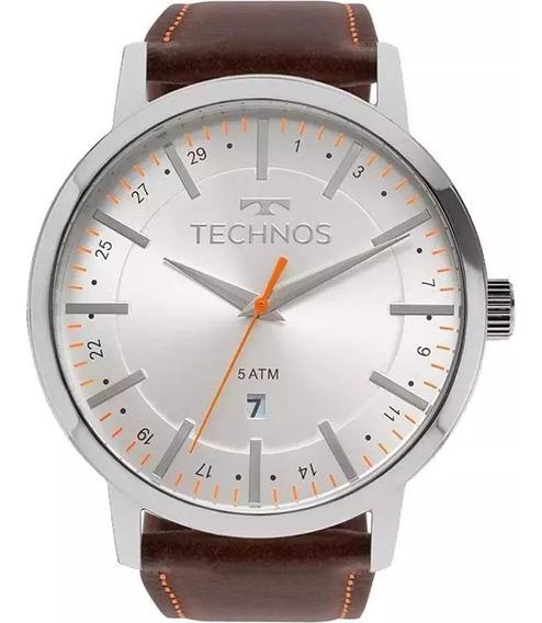 Relógio Masculino Technos Steel Couro Marrom 2115mmh/1b