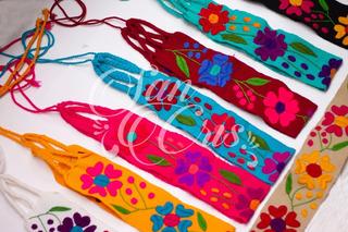Lote 6 Fajas Artesanal Flores De Estambre Bordadas, Chiapas