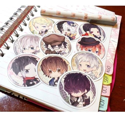 Set De 10 Stickers Circulares De Anime - Bungo Stray Dogs