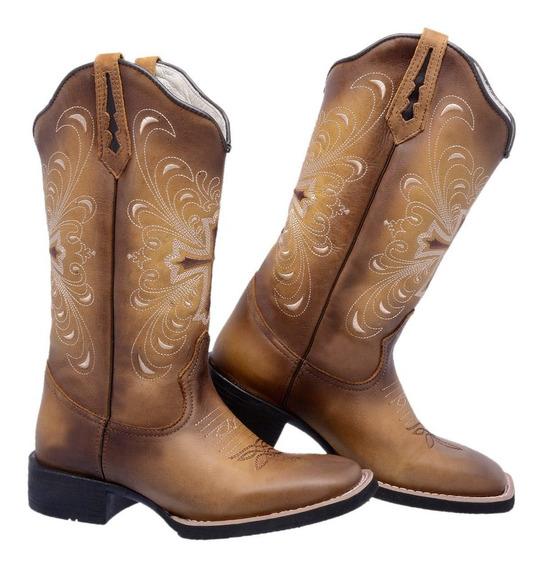 Bota Feminina Texana Bico Quadrado Cano Longo Botina Couro