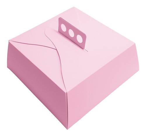 Cajas Rosas Para Tortas Y Masas 27x27x10 Pack X 50 Unid