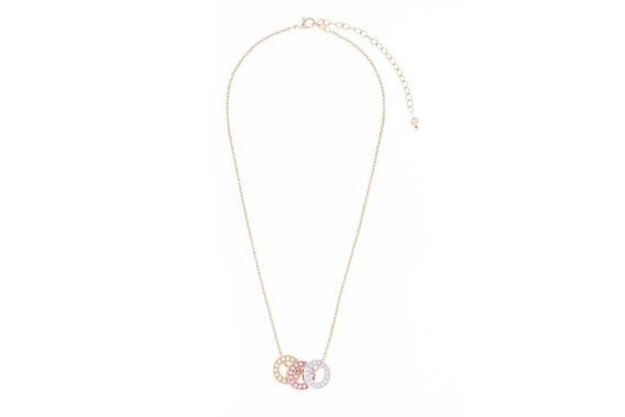 Collar Nice Baños De Oro,rodio Y Oro Rosa, Piedra De Cristal