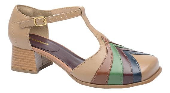 Sapato Feminino Retro Malbork Bico Quadrado Couro Taupe 3159