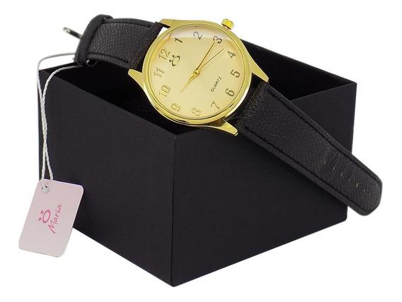 Relógio Feminino Maria Quatz Dourado Pulseira Em Couro Preto