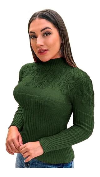 Blusa Suéter Tricot Cardigan Detalhada Gola Alta R:989
