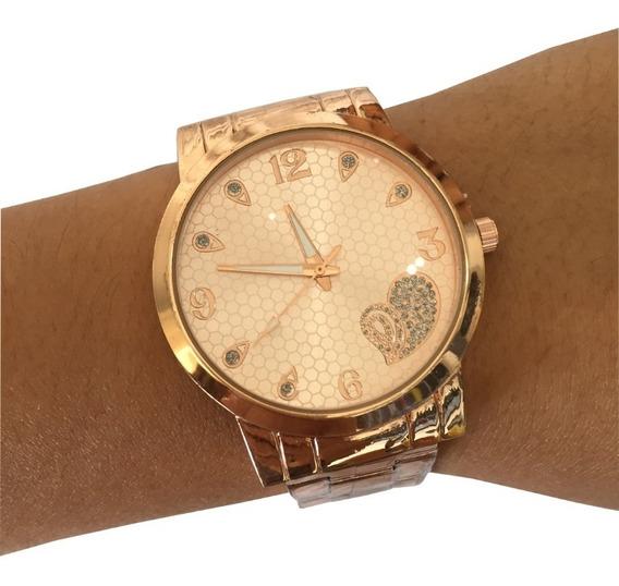 Relógio De Pulso Metal Rosa Barato Rose Gold Feminino