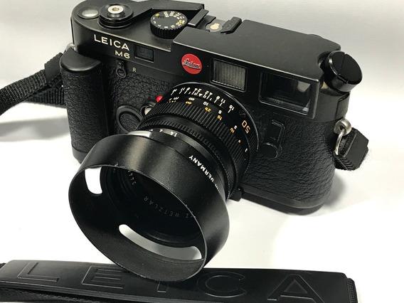Camera Fotografica Leica M6 Com Lente Summilux 50mm 1.4 + Acessórios.
