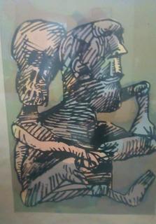 Cuadro Obra Pedro León Zapata Con Ella A Cuestas 1975