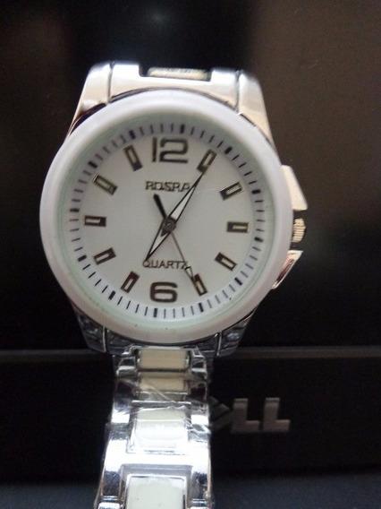 Relógio Prata Rosra Quartz 01 = Vra04