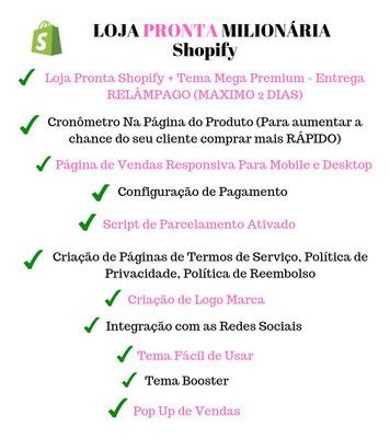 Shopify Loja Pronta Milionária - Entrega Ninja 2 Dias