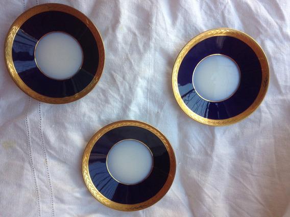 Tres Platitos Azul Cobalto Y Oro Confiteria Del Gas