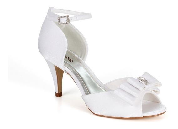 Sandália Branca Para Noivas Salto Médio Spaço Criativo