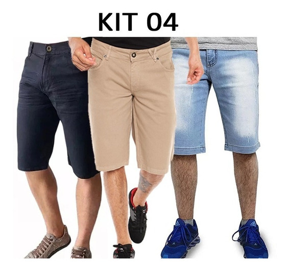 Kit Com 3 Bermudas Short Masculino Bermuda Jeans Sarja