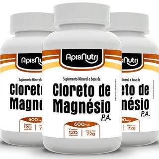 Kit 3 Cloreto De Magnésio P.a - Apisnutri 600mg 120 Cáps