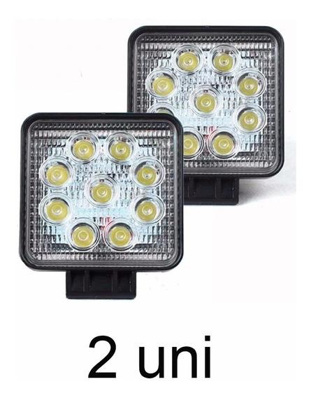 2 Farol Milha Quadrado 27w 9 Leds Jeep Troller 12v Universal