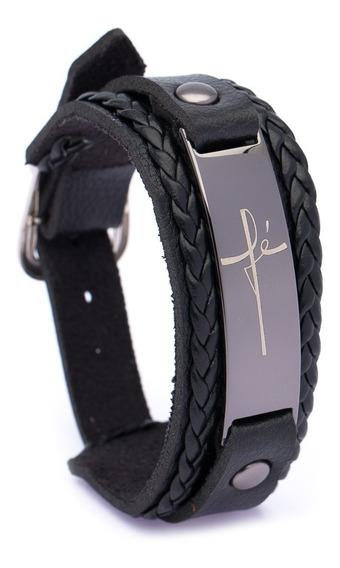 Pulseira Bracelete Fé Ogrife J-566 Couro Sintético Regulagem