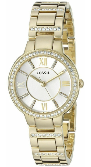 Reloj Fossil Virginia Silver Dial Gold-plated Es3283