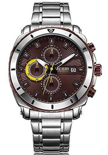Megir De Lujo De Acero Inoxidable Relojes De Cuarzo Hombres