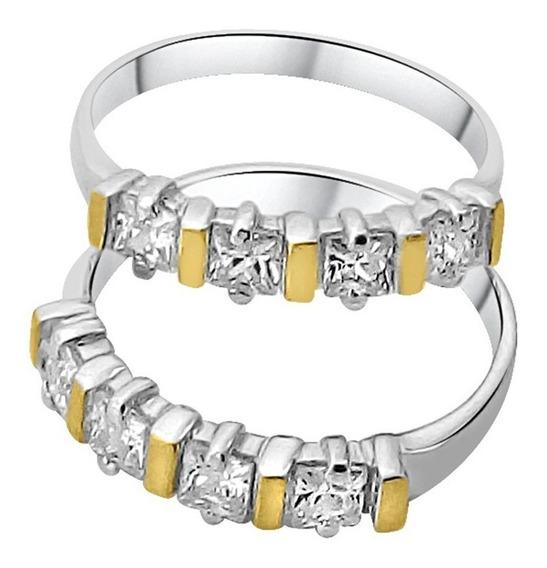 Anéis Aparadores Aliança Prata 950 Maciça Ouro Zircônias