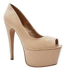 Sapato Feminino Salto Alto Verniz Nude Dom Amazona Cód 38