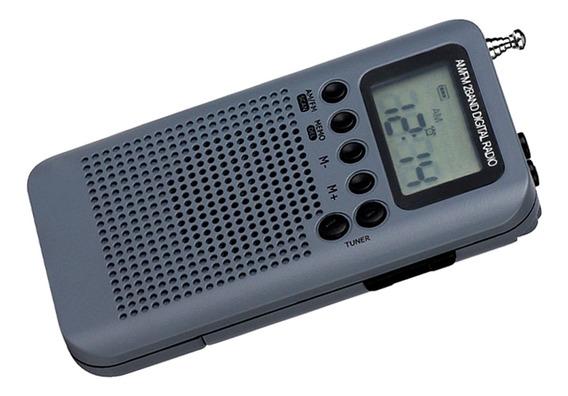 Am Fm Digital Portátil Bolso Rádio E Fone De Ouvido Cinza