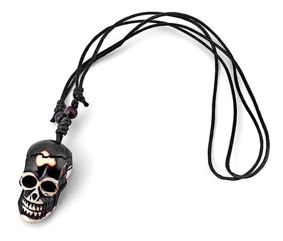 Colar Cordão Caveira Pingente Crânio Skull Tribal Viking