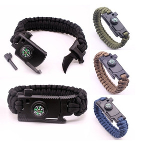 Pulsera Paracord Supervivencia Camp 5-1 Pedernal Navaja Pito