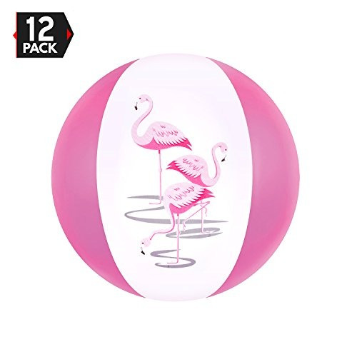 Big Mos Toys 12 Pink Flamingo Party Pack Inflables Beach Bal
