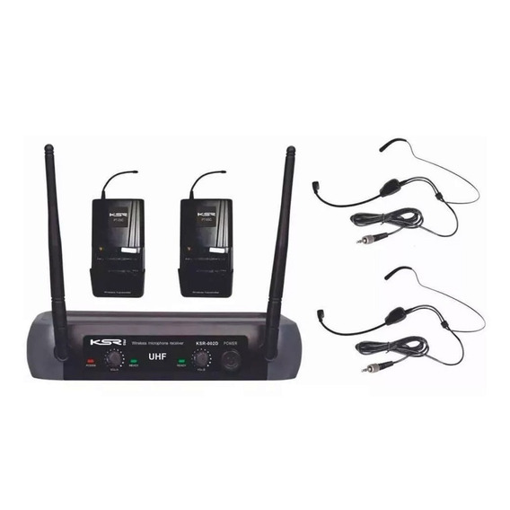 Microfone Sem Fio Duplo Headset Ksr Uhf Camera Tipo Karsect