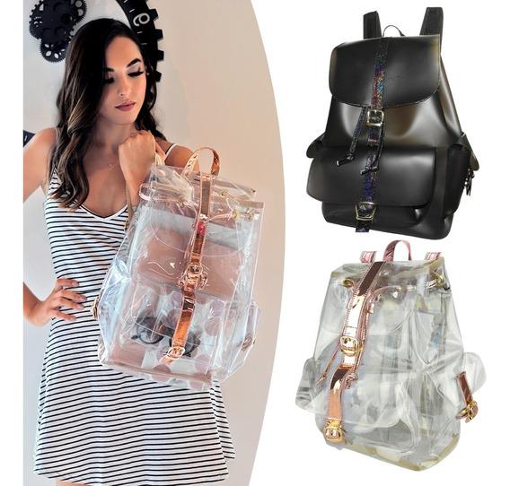 Mochila Dama Moda Transparente Fashion ¡precios De Mayoreo!