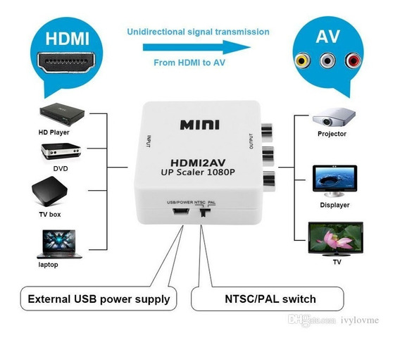Mini Adaptador Conversor De Hdmi Para Video Rca Tv