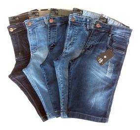 Kit /5 Bermuda Jeans Masculino Atacado Tamanhos Grandes