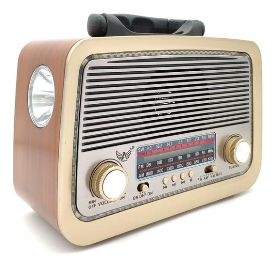 Radio De Mesa Fm Am Sw Usb Retro Bateria Recarregável Bivolt